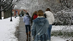 Students in the Snow
